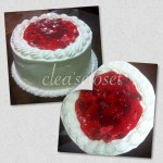 Sponge cake with whipped cream and strawberry filling